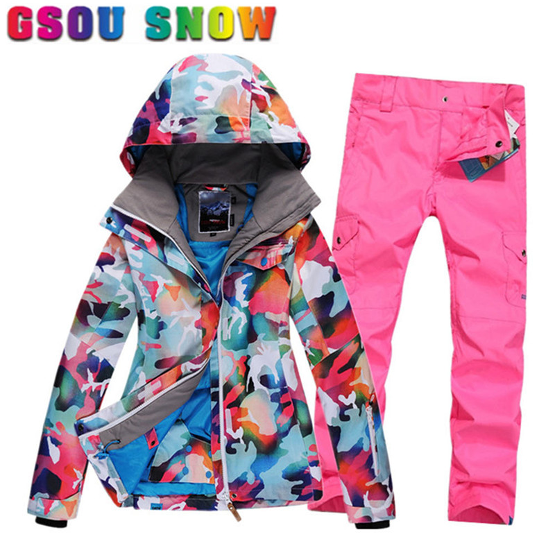 1e16f93cd1 Gsou Snow New Ski Jacket Pants Waterproof Ski Suit Women Winter Suit  Thermal Outdoor Skiing Clothing Snow Set for Snowboarding
