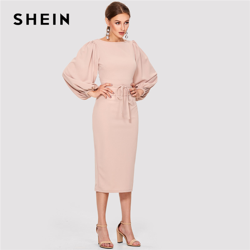 5dd3391fdf SHEIN Pink Elegant Tie Waist Boat Neck Bishop Long Sleeve Solid Dress 2018 New  Women Mid-Calf Belted Party Dresses
