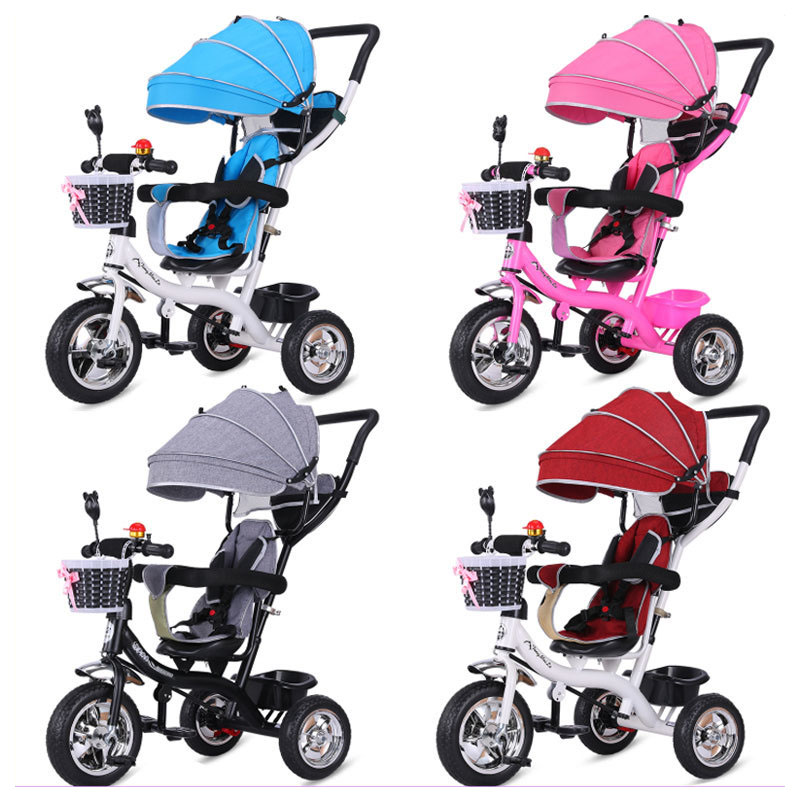 2 In 1 Baby Tricycle Stroller Three Wheels Stroller Baby Carriage Pram Toddler Child Tricycle Bicycle Jogging Stroller Buggies folding rotatory seat baby toddler child steel tricycle stroller bike bicycle umbrella cart removable wash child buggies 6 m 6 y