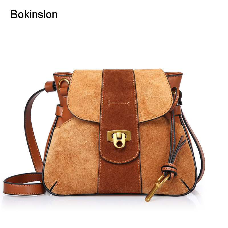 Bokinslon Fashion Bag Women Split Leather Simple Crossbody Bags Woman Retro Individuality Handbags Ladies Bags 2017 fashion all match retro split leather women bag top grade small shoulder bags multilayer mini chain women messenger bags