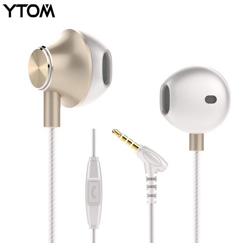 YTOM YT1 earbuds earphone jack bass headset with mic voice clear original earphone for iphone 5 6 xiaomi samsung universal headphones 3 5mm earphone earhook with clear voice for mp3 player computer apple iphone 6 6s 5 5s mobile phone headset