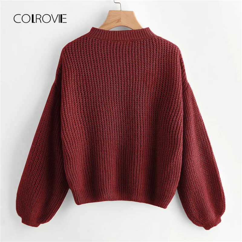 267a1be9f COLROVIE Burgundy Solid Drop Shoulder Lantern Sleeve Casual Sweaters 2018  Winter Stand Collar Women Pullover Warm
