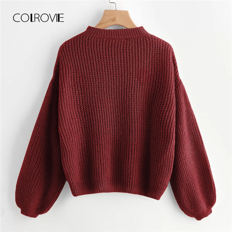 COLROVIE Burgundy Solid Drop Shoulder Lantern Sleeve Casual Sweaters 2018 Winter Stand Collar Women Pullover Warm Ladies Jumper