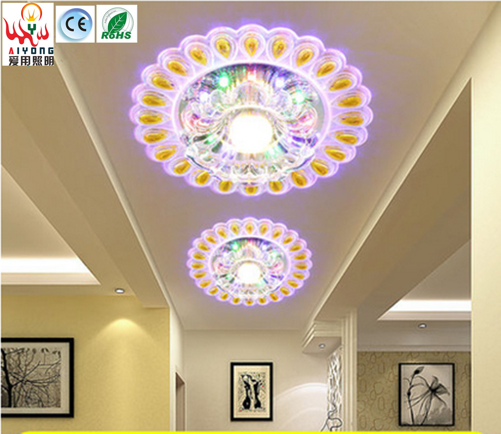 Color round LED crystal aisle lights can be embedded corridor lights 85-265V entrance balcony ceiling lamps type ceiling lamps aisle lights round corridor lights balcony foyer porch lamp crystal chandelier stairs restaurant