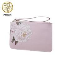 Pmsix 2017 Vintage Style Printing Flowers Designer Brand Women Purse Luxury Split Leather Clutch Wallets Carteira