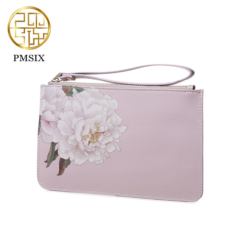 цены Pmsix 2018 Vintage Style Printing Flowers Designer Brand Women Purse Luxury Split Leather Clutch Wallets carteira feminina