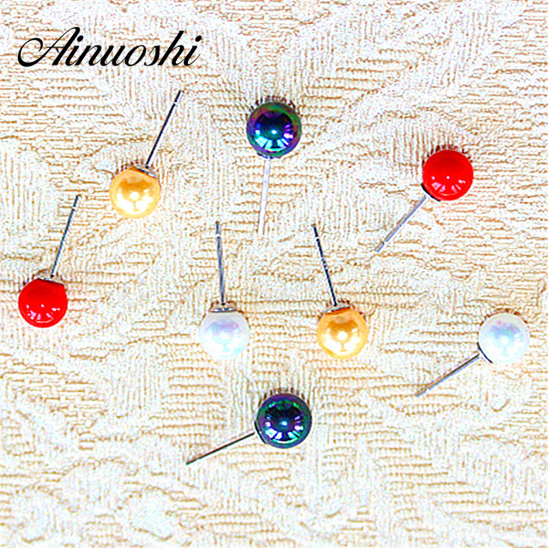 AINUOSHI Hot 4 Colours 925 Silver Stud Earring Ball Beads 925 Sterling Silver Girls Earring Party Birthday Jewelry Accessaries