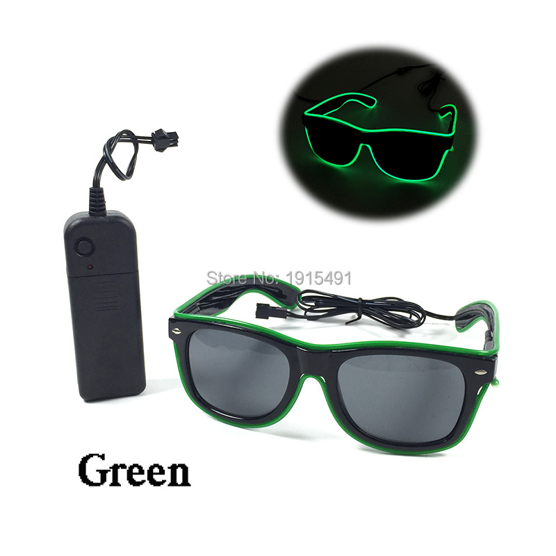 TOP Selling Neon EL Cold Light Sunglasses Holiday Lighting Green Fluorescent Rave Costume Accessory Christmas Party Decoration