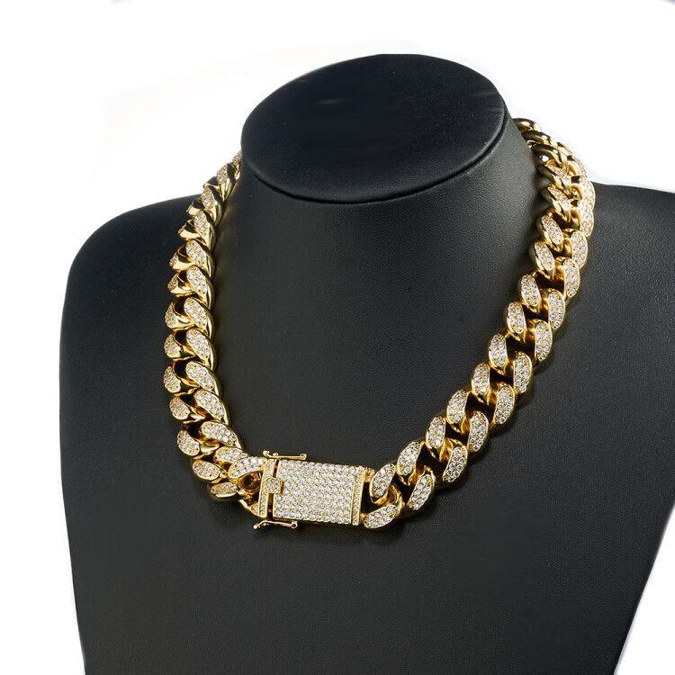 18mm de ancho de Color oro AAA diamantes de imitación Cuban collar pulseras Set hombres Hip Hop Bling Iced Out enlace cadena joyería-in Conjuntos de joyería from Joyería y accesorios    3