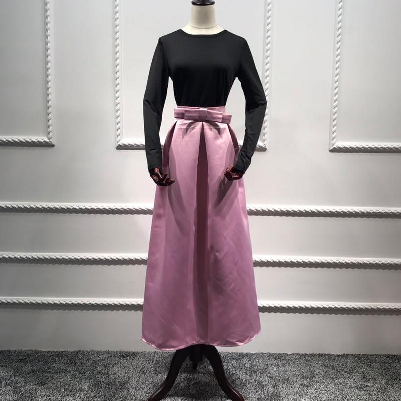 Plus Size Skirts Faldas Mujer Moda 19 Abaya Dubai Turkish Long Pleated Maxi High Waist Skirt Women Jupe Longue Femme Skirts 14
