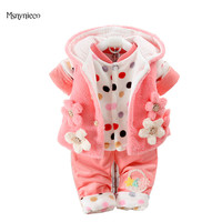 Baby Girl Clothes Sets 2017 New Winter Girl Flannel Suits Thicken Warm Coat Flower Baby Jacket