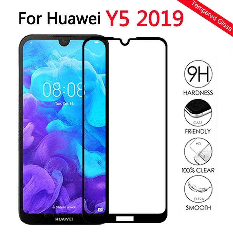 Couverture complète en verre trempé pour Huawei Y5 2019 protecteur d'écran en verre pour Huawei huawey Y5 2019 AMN-LX1 y 5 2019 Film de protection