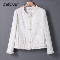 Women Autumn Winter Tweed Jackets Coats Short Woolen Vintage White Coat Female Korean Streetwear Plus Slim Cute Outwear chifave