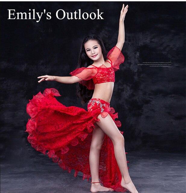 6256e71b7e3 Costume de danse inde fille 2 pièce robe Organza haut papillon jupe longue  Bollywood princesse dentelle