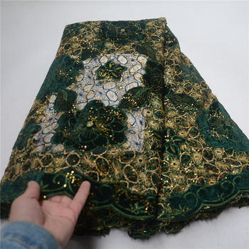 New Arrival Green Color African Lace Fabrics High Quality Cord Guipure Lace Fabric Women Nigerian Water Soluble Lace Fabric-LP30