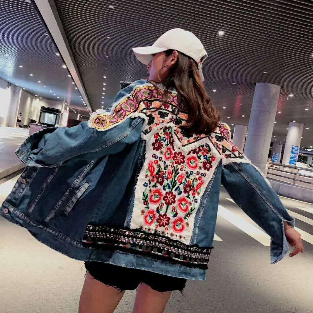 조수 브랜드 여성 2019 가을 새로운 국가 스타일의 꽃 자수 페르시 스팽글 긴팔 데님 재킷 여성-에서베이식 쟈켓부터 여성 의류 의  그룹 1