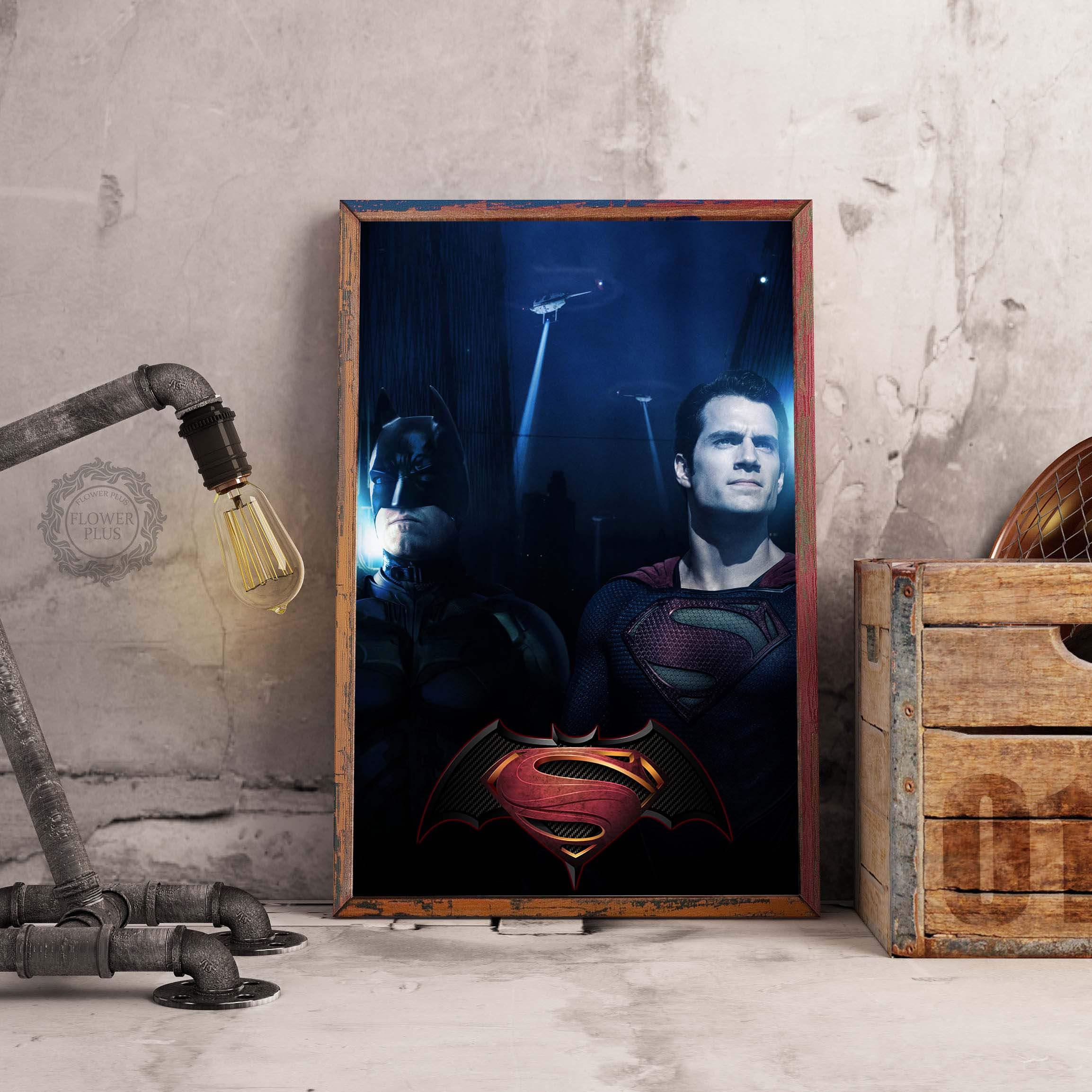 Batman Superman Movie Canvas Art Posters Watercolor Canvas Prints Painting Wall Picture for Living Room Bedroom Decoration in Painting Calligraphy from Home Garden