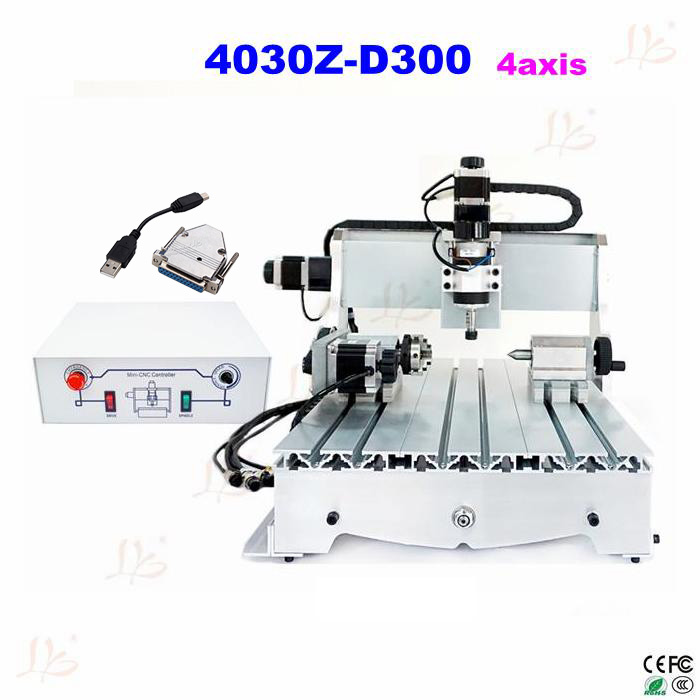 Russia free tax CNC lathe machine 4030Z-D300 4axis woodworking table cnc engraver machine with USB parallel port adapter russia tax free cnc woodworking carving machine 4 axis cnc router 3040 z s with limit switch 1500w spindle for aluminum
