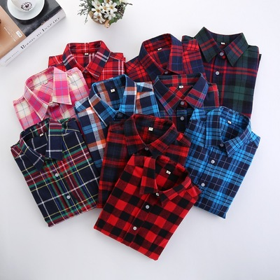 Women Plaid   Shirt   Cotton Female   Blouses   Long Sleeve Flannel   Shirt   Plus Size Casual college style Women Tops Plus Size