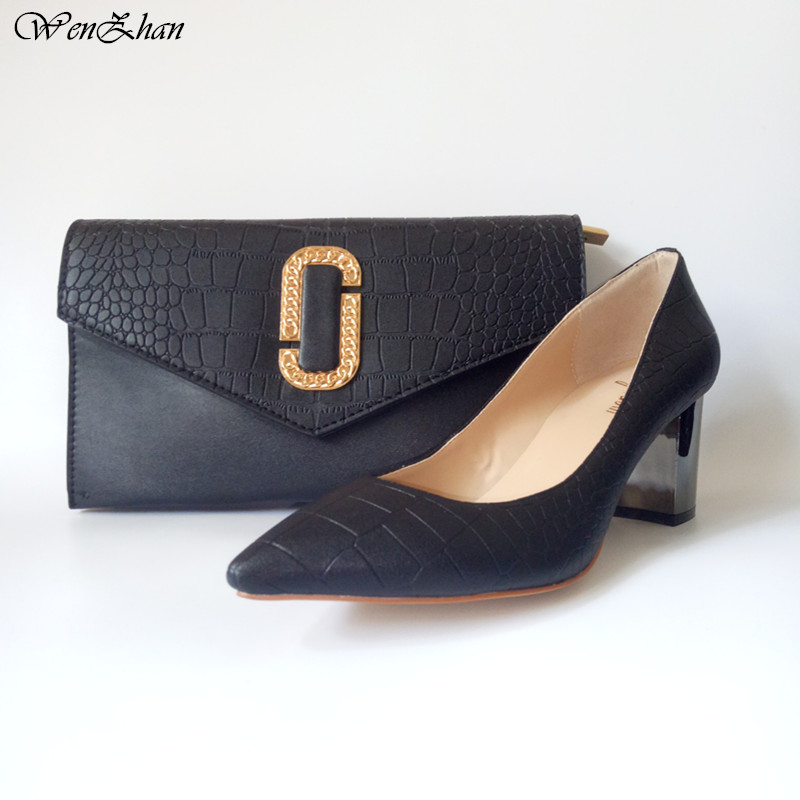 WENZHAN Hot sale black PU leather 7CM Short Thick heel fashion soft shoes pointed toe With Matching Clutch Bags Sets 079-25