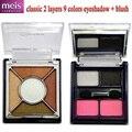 Maquiagem 9 cores de sombra e blush de maquiagem paleta 2 camadas com espelho de maquiagem clássico shippong