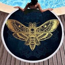 Круглая пляжная полотенце для взрослых с черепом, черно-белое банное полотенце из микрофибры в стиле бохо, Бабочка, готический Коврик для йоги