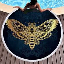 Death Moth With Skull Round Beach Towel for Adult Black White Boho Microfiber Bath Towel Butterfly Gothic Yoga Mat