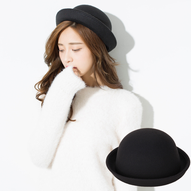 9124b3ec233 Lady Fedoras Wool Felt Hat Fashion Vogue Ladies Women Girl Vintage Wool  Black Bowler Derby Trilby Hat Cap High Quality Wholesale