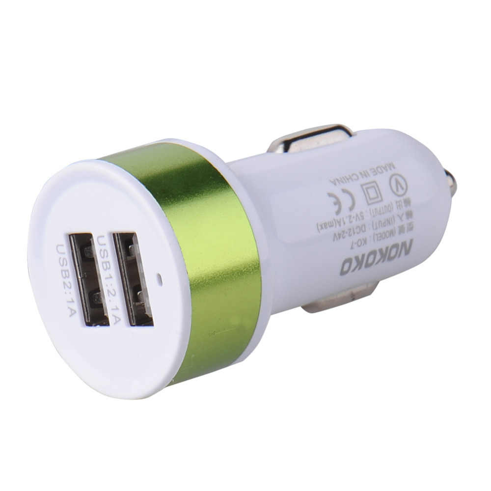 Dual USB Car Charger 2 USB Ports car Charger metal round head car battery charger for iphone for Samsung xiaomi huawei mobiles