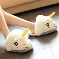 1 par Lindo Unicornio Animal de la Historieta de Las Mujeres/hombres Parejas Inicio Zapatilla Para la Casa de Interior Dormitorio Cálido Zapatos party favors regalos de cumpleaños