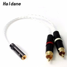 цена на Free Shipping Haldane 1/8 3.5mm Stereo Female to 2x RCA Male Audio Adapter Cable 8 Cores 7N OCC Copper Silver plated Audio Cable