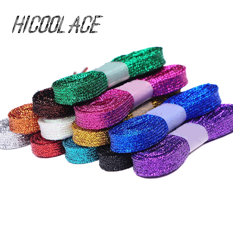 2018 New Shiny Flat Glitter Shoelaces Colorful Metallic Shoe Laces 80CM/120CM/140CM Running Shoelaces for Shoes