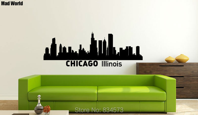 Gila Dunia Chicago Skyline Chicago Kota Silhouette Wall Art Stiker Dinding Decal Dekorasi Rumah Diy Removable Dekorasi Wall Stiker Wall Sticker Decorative Wall Stickerswall Art Stickers Aliexpress