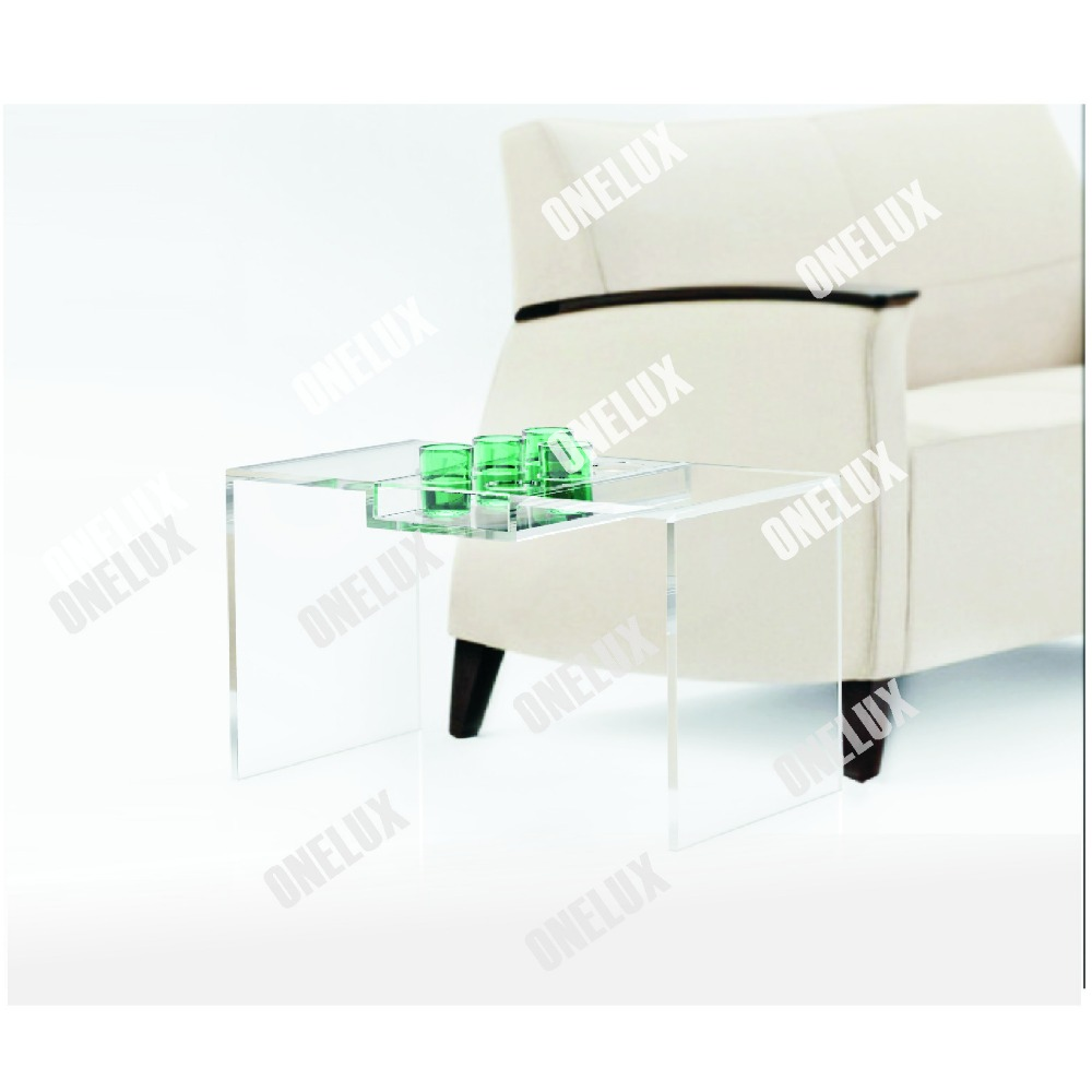 Clear Acrylic Tea Table, Lucite Coffee Table With Cup Dispenser Tray acrylic laptop desk perspex plexiglass lucite laptop table coffee side table acrylic furniture