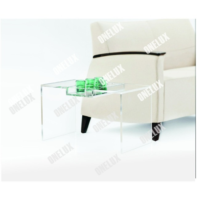 Clear Acrylic Tea Table, Lucite Coffee Table With Cup Dispenser Tray