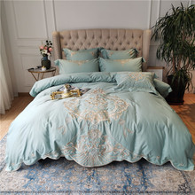 New Luxury Green Gray Champagne 100S Egyptian Cotton Gold Royal Embroidery Bedding Set Duvet Cover Bed Linen/sheet Pillowcases