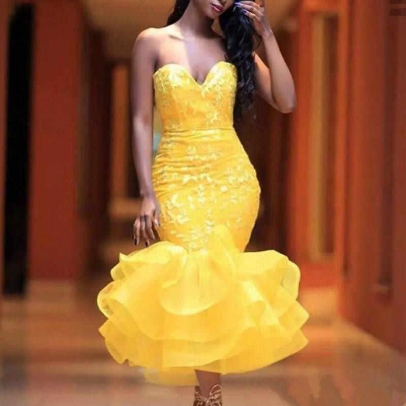JaneVini אלגנטי צהוב בת ים ערב שמלות ראפלס 2019 מתוקה אפליקציות אורגנזה בתוספת גודל רשמי שמלות Robe De Soiree