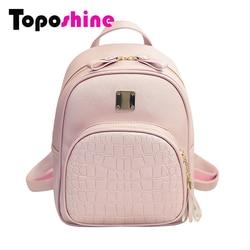 Toposhine 2016 new korean backpacks fashion pu leather shoulder bag crocodile pattern small backpack embossed school.jpg 250x250