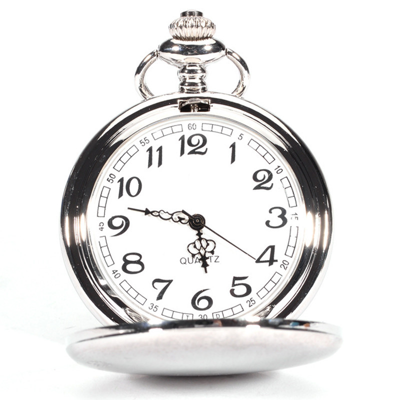 Gofuly 2020 New Hot Smooth Stainless Steel Case White Dial Arabic Numbers Antique Modern Pocket Watch With Box Hot Sales