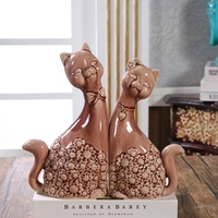 Porcelain Cat Couple Figurine Decorative Ceramics Kitty Lovers Statue Ornament Craft for Wedding Gift and Marriage Souvenir