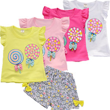Summer Toddler Girl Clothes Kids Cotton Clothing Infant Cartoon Print T-shirt Small Child Cute Floral Shorts Baby Girls T Shirt summer new baby girls clothing set flowers print t shirt vest denim shorts girl kids 3pcs clothes toddler girl costume