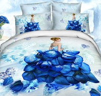 3D Blue rose duvet cover bedding set love heart romantic bedspreads super king queen double size fitted bed sheets cotton 7pcs