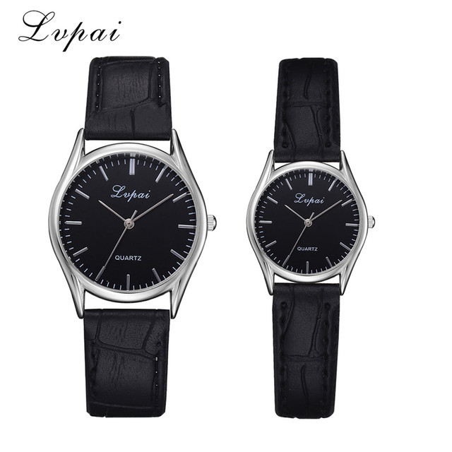 2018 Newest 1 Pairs Lovers' Watch Women Men Leather Band Watch Casual Couples Qu