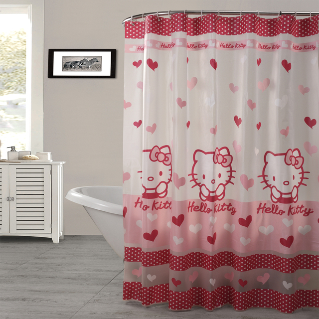 PEAV Semitransparent Waterproof Pink Colour Kitty Cat Shower Curtain  Bathroom Curtains Size 180x180cm With 12pcs C
