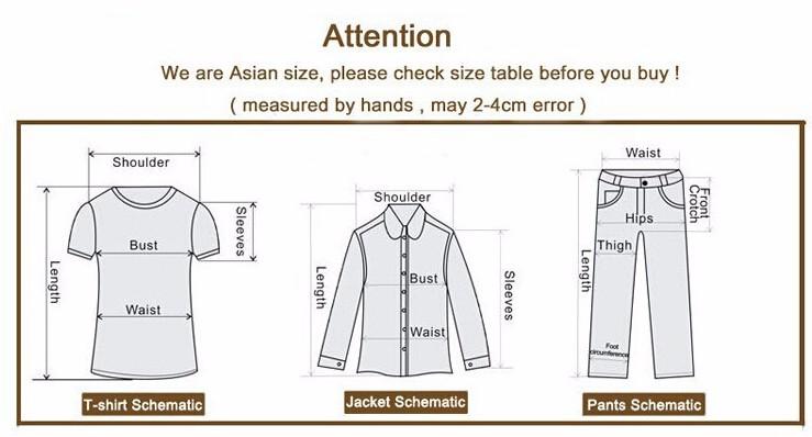men jackets size chart