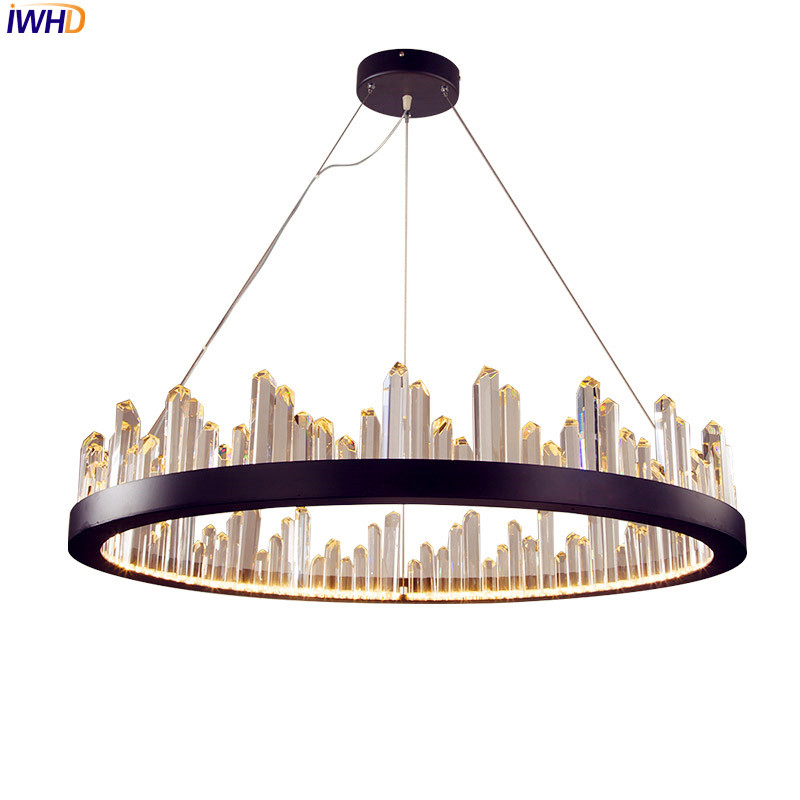 IWHD Nordic Crystal LED Pendant Lights Fixtures Dinning Living Room Cristal Creative Round Hanging Lamp Home Indoor Lighting italian style creative simple led pendant lights crystal fixtures for dinning room living room in nordic lampara handlamp