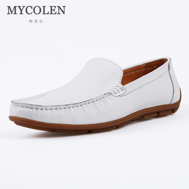 MYCOLEN Shoes Men Flats Genuine Leather Driving Shoes Comfort Autumn Style Soft Moccasins Men Loafers Boat Shoes High Quality genuine leather shoes men top quality driving flats shoes soft leather men shoes loafers moccasins breathable zapatos hombre