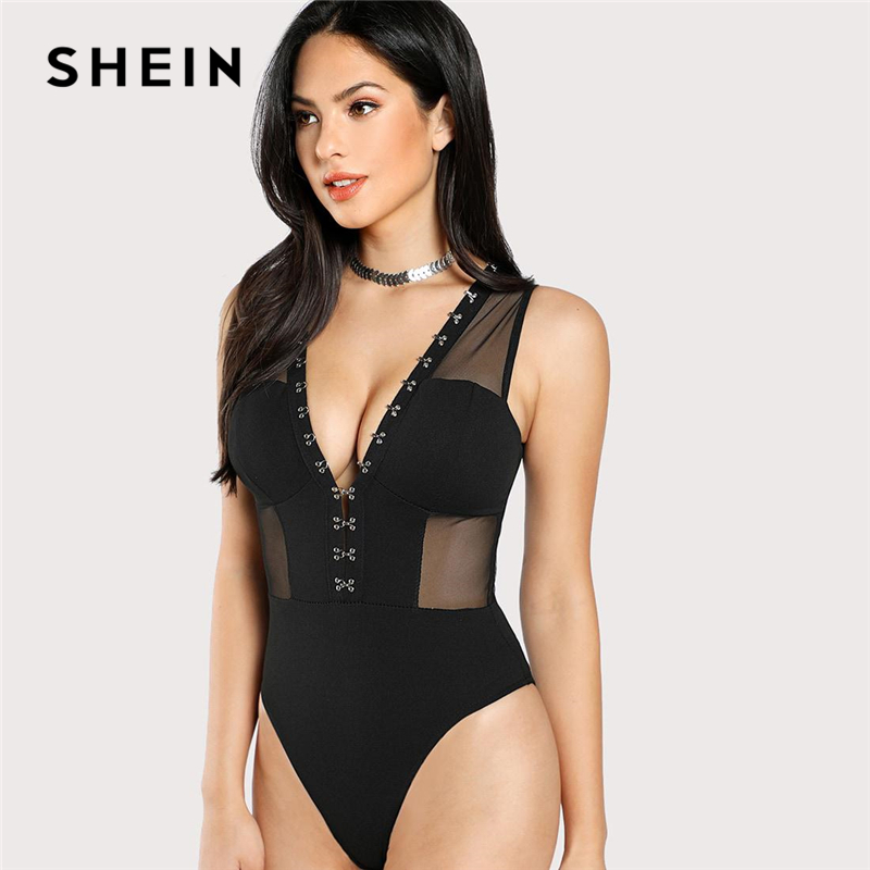 SHEIN Sexy Black Mesh Insert Hook and Eye Bodice Deep V Neck Mid Waist Sleeveless Skinny Sheer Bodysuit Women Summer Bodysuits 1