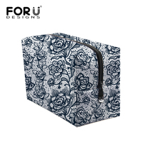 Designer Fashion Lace Printing Women Make Up Bag Solid Women Cosmetic Pouch Storage Bag Big Size