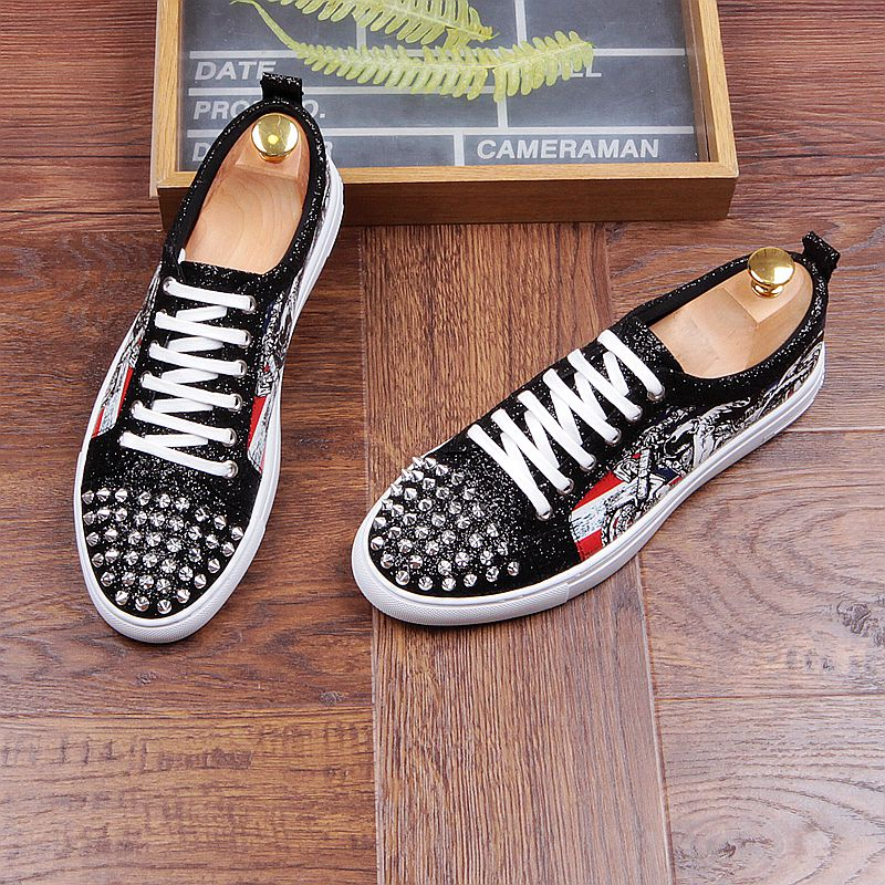 Fashion Men's Sneakers Studded Rivets Casual Black Round Toe Shoes Man Heavy Bottom Lace Up Male Flats Zapatos Hombre-in Men's Casual Shoes from Shoes on Aliexpress.com | Alibaba Group 36